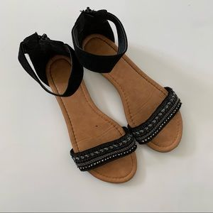 Top Moda Ankle Strap Open Toe Sandals Black